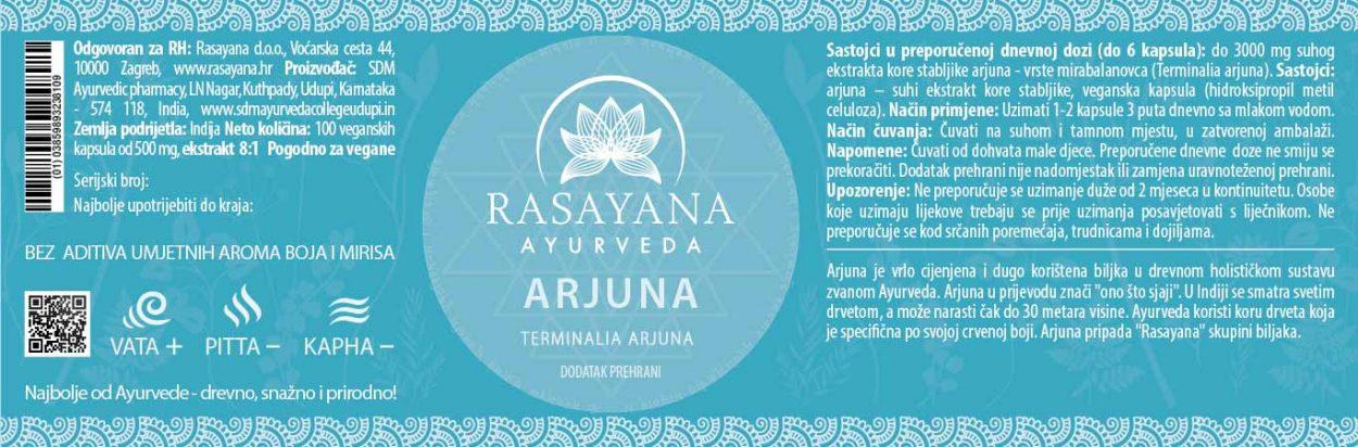 Deklaracija Arjuna kapsule Arjuna prah Arjun tree bark Ekstrakt Svježe Kore Dveta Suplement Dodatak prehrani Rasayana ayurveda Proizvod