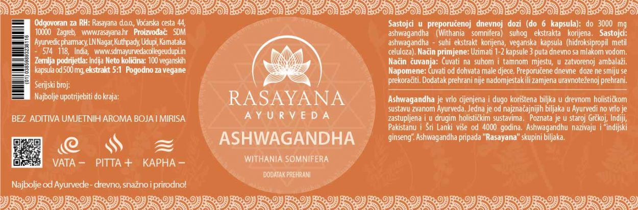Deklaracija Ašvaganda Ashwagandha kapsule Withania somnifera Ekstrakt Svježeg Korjena Suplement Dodatak prehrani Rasayana Ayurveda Proizvod