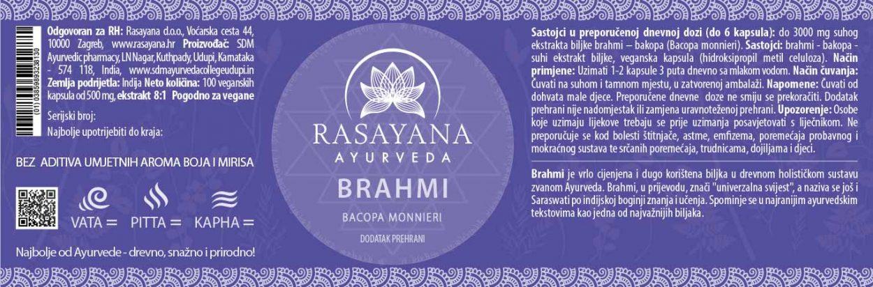 Deklaracija Brahmi Bacopa monnieri Ekstrakt Svježe biljke Suplement Dodatak prehrani Rasayana Ayurveda Proizvod