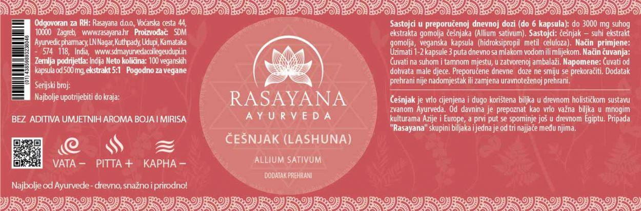 Deklaracija Cesnjak u kapsulama Lashuna Allium sativum Ekstrakt svježeg gomolja Suplement Dodatak prehrani Rasayana Ayurveda Proizvod