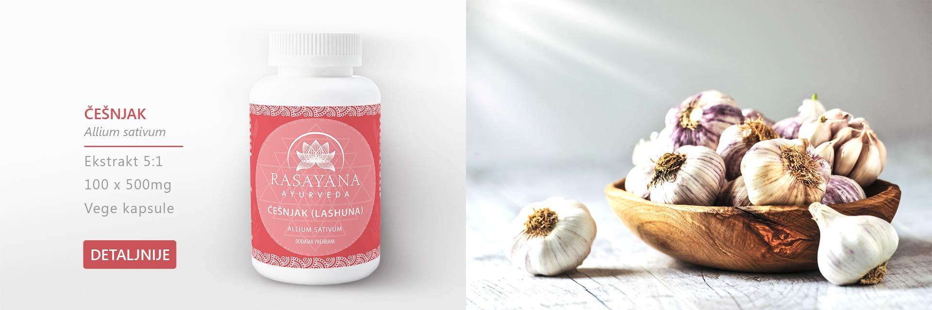 Shop Kupi proizvod Česnjak Lashuna Allium sativum Ekstrakt svježeg gomolja Suplement Dodatak prehrani Rasayana Ayurveda