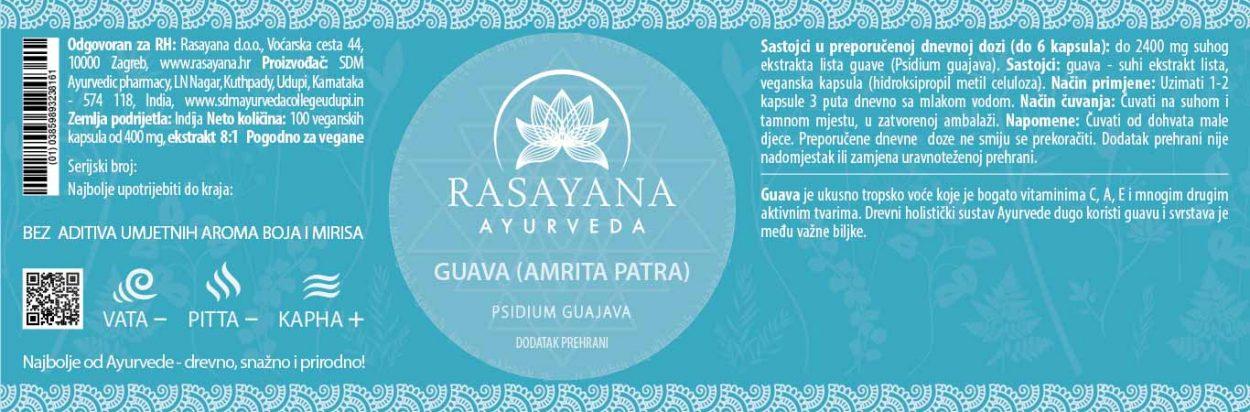 Deklaracija Guava Amrita Patra Psidium gujava Ekstrakt svježeg lista Suplement Dodatak prehrani Rasayana Ayurveda Proizvod