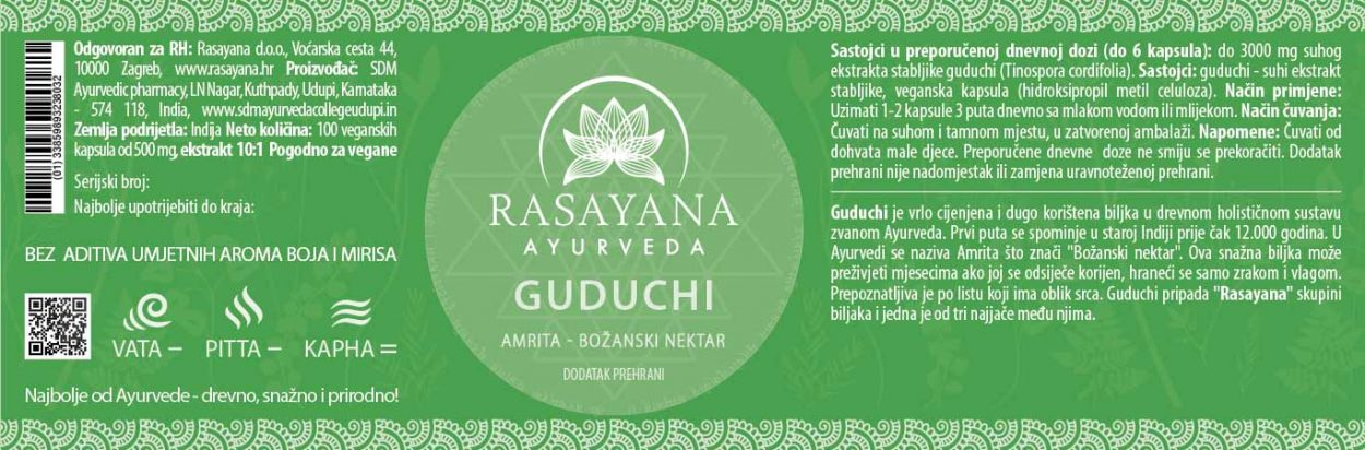 Deklaracija Guduchi kapsule Tinospora cordifolia Ekstrakt svježe biljke Suplement Dodatak prehrani Rasayana Ayurveda Proizvod