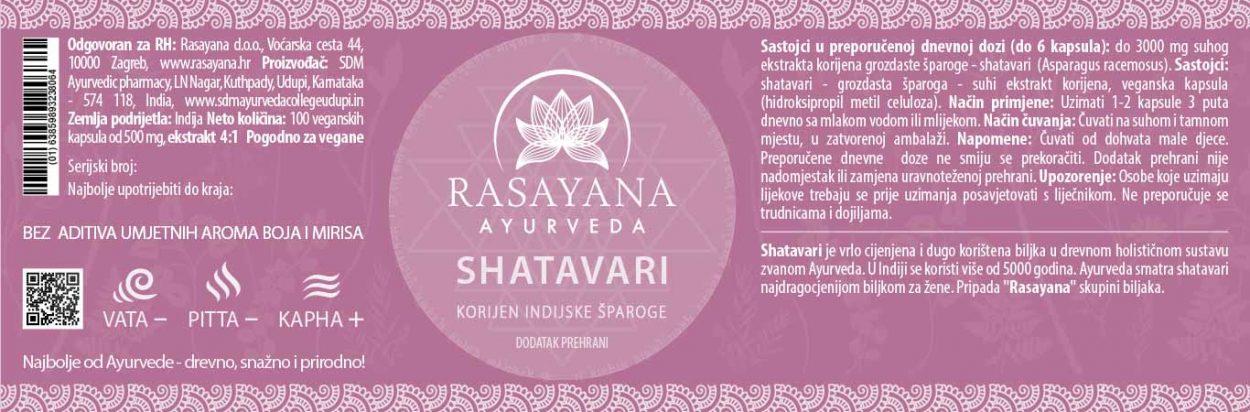 Deklaracija Shatavari kapsule prah Šatavari kapsule prah Indijska šparoga Asparagus racemosus Ekstrakt svježeg korijena Suplement Dodatak prehrani Rasayana ayurveda Proizvod