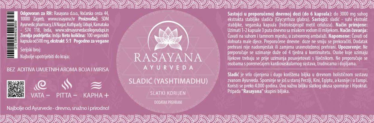 Deklaracija Sladić kapsule Slatki korijen Yashtimadhu Glycyrrhiza glabara Ekstrakt svježe stabljike Suplement Dodatak prehrani Rasayana ayurveda Proizvod
