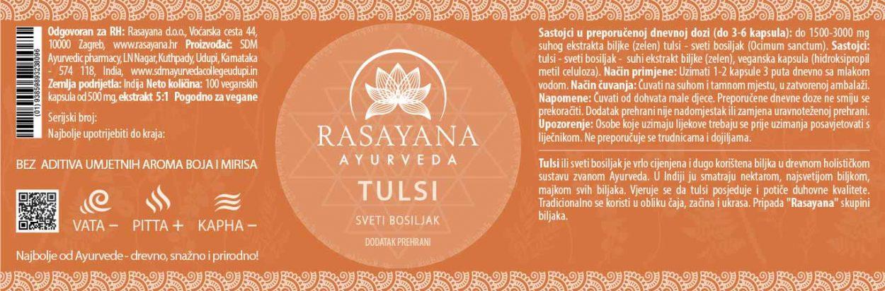 Deklaracija Tulsi Sveti bosiljak Ocimum sanctum Ekstrakt svježe biljke Suplement Dodatak prehrani Rasayana ayurveda Proizvod Ayurvedski pirpavci