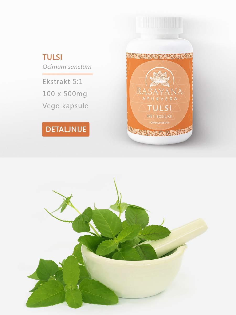 Shop Kupi proizvod Tulsi Sveti bosiljak Ocimum sanctum Ekstrakt svježe biljke Suplement Dodatak prehrani Rasayana ayurveda
