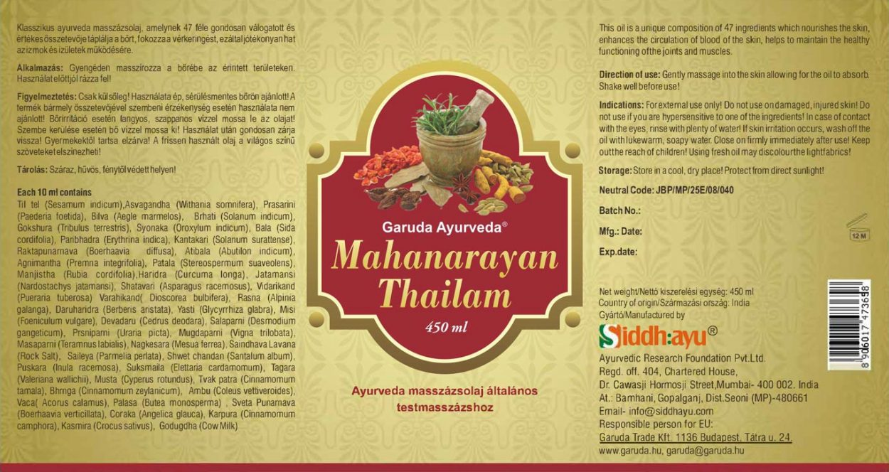 deklaracija ayurvedsko ulje za masažu mahanarayana