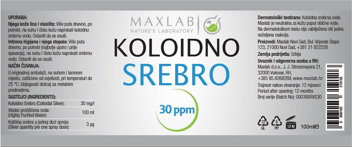 Koloidno Srebro 30 ppm 100 mL Spray Label (1)